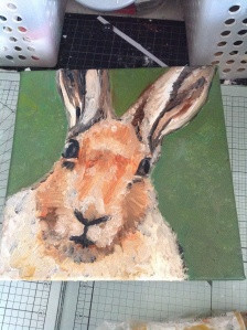 20x20 oakhaven art exhibition 'hare stare' Started at last... Oil painting