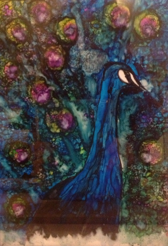 peacock  in alcohol ink