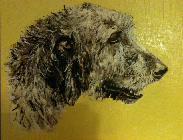 Irish wolf hound in acrylics
