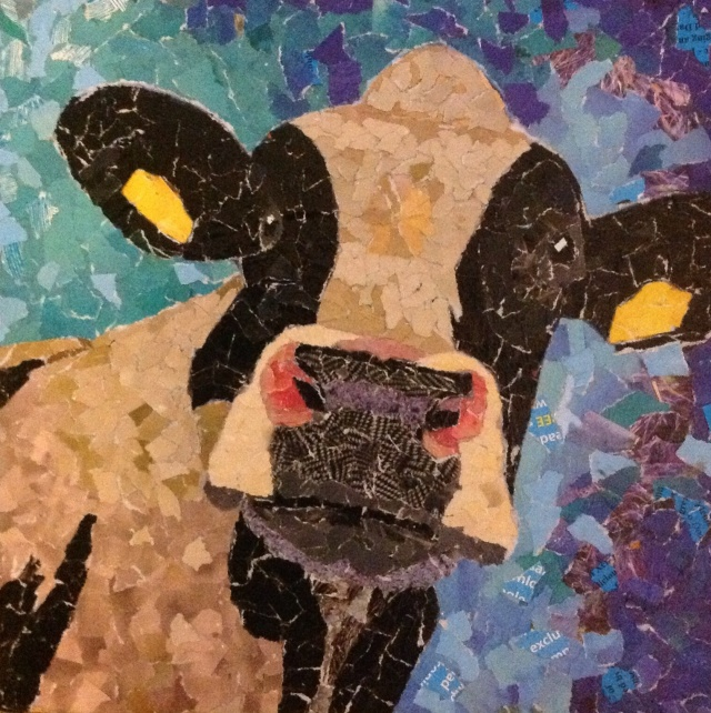 Cow, mixed media, ripped paper