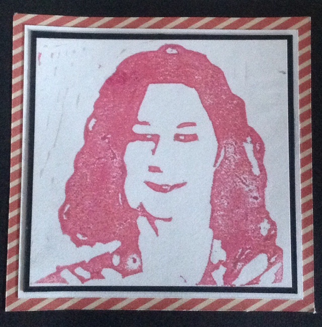 Self portrait, hand carved stamp, pigment ink