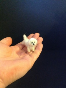 Tiny miniature felted bishon frise 1/12 th scale