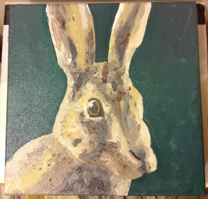 Second hare oil painting