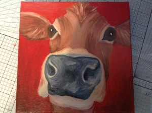 Oil cow painting 20x20