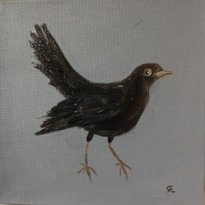 Blackbird oil painting 20x20 Mother's Day gift