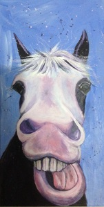 You have seen the cow paintings, now for a pony! Acrylic paint on canvas