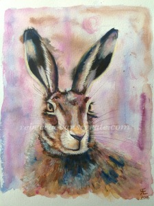 Watercolour and neopastel hare painting