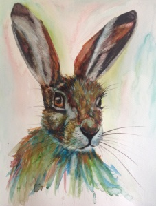 'Motley moments' watercolour hare, direct to paper, fast paint technique using unconventional colours.