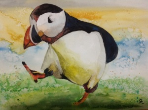 'Puffin patrol' watercolour puffin