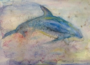 Watercolour dolphin, 'beauty beneath'