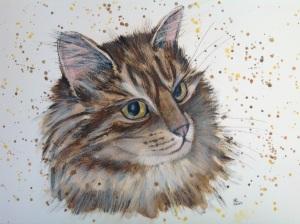 Norwegian forest cat 'willow' watercolour