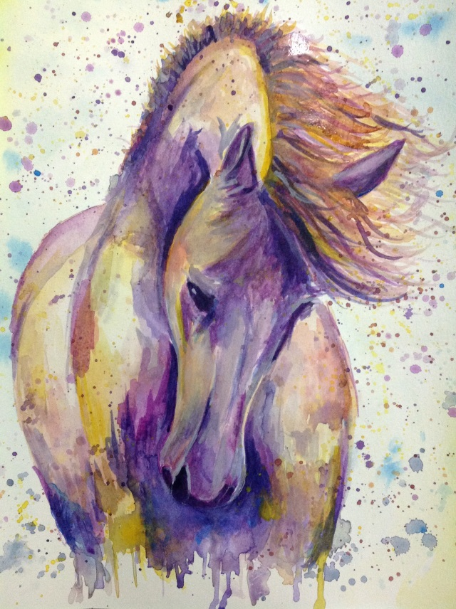 Windy day Watercolour of a horse
