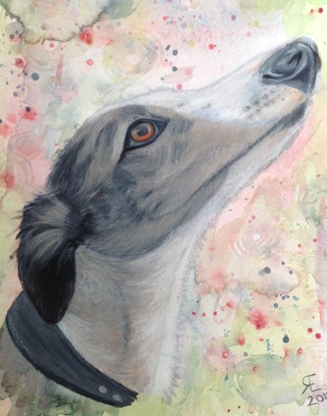 Gizmo portrait Neocolor 2 and watercolour painting