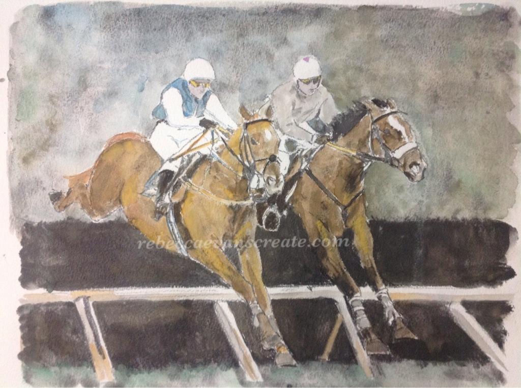 Jump racing liquid pencil and watercolour painting