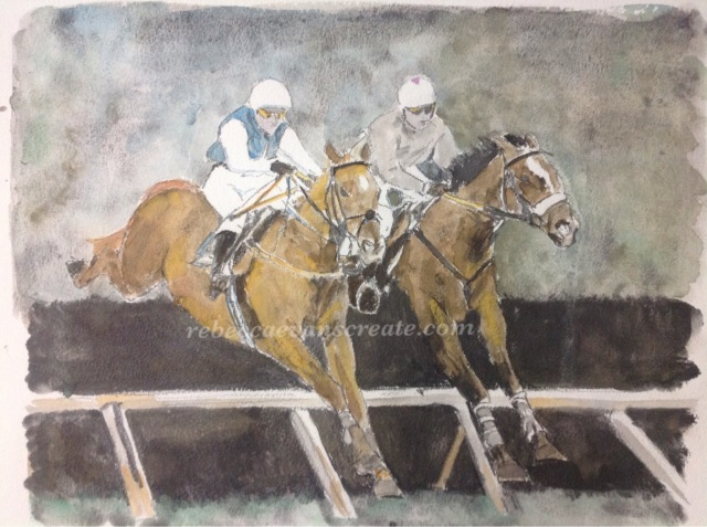 Jump racing liquid pencil and watercolour painting