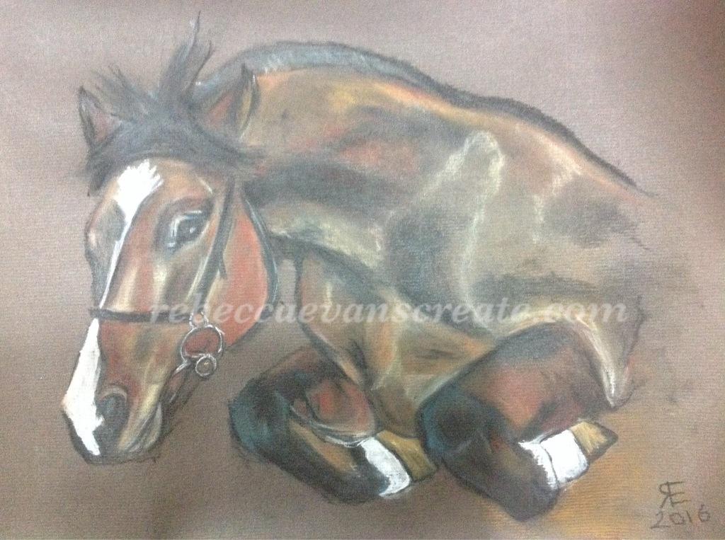 Pony jumping pastel rebecca evans create art