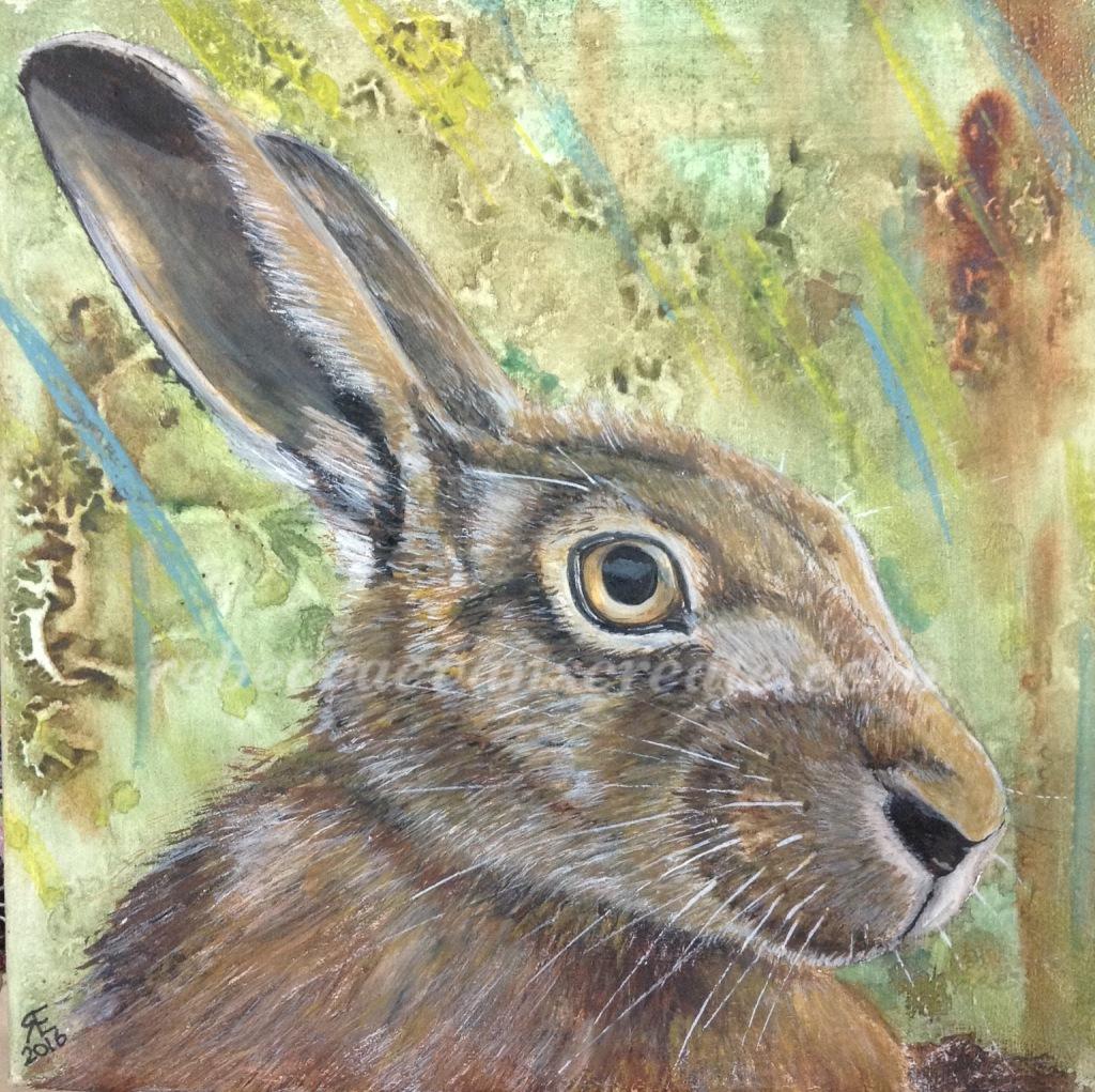 Hare mixed media