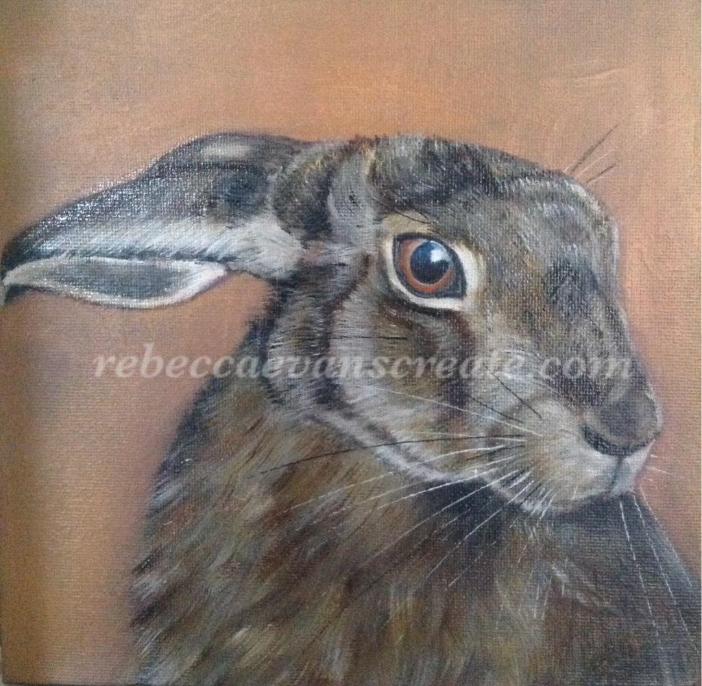 Oil painting of hare rebecca evans create art