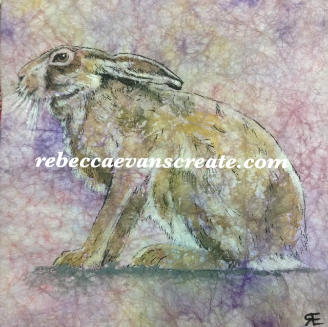 Masa paper and watercolour painting of hare rebecca evans create art