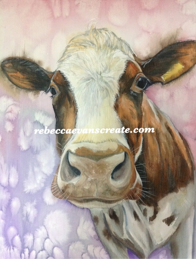 Watercolour on canvas cow rebecca evans create art