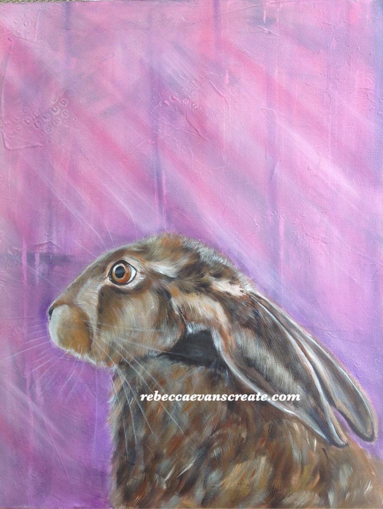 Oil hare painting rebecca evans create art