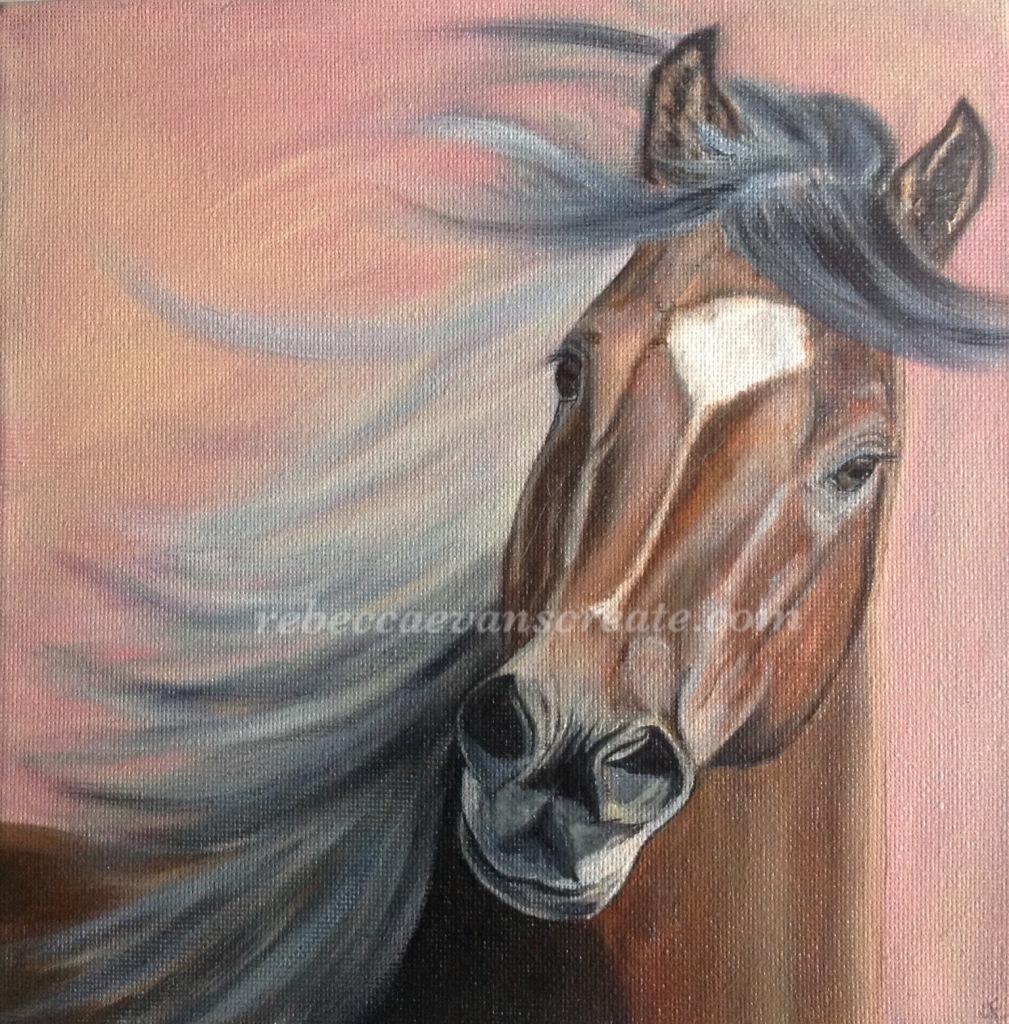 Oil painting of horse rebecca evans create art