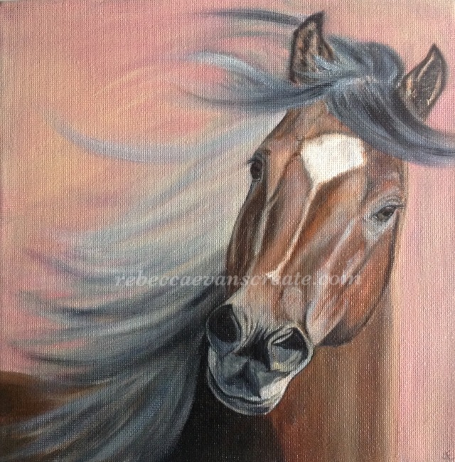 Oil painting of horse rebecca evans create art