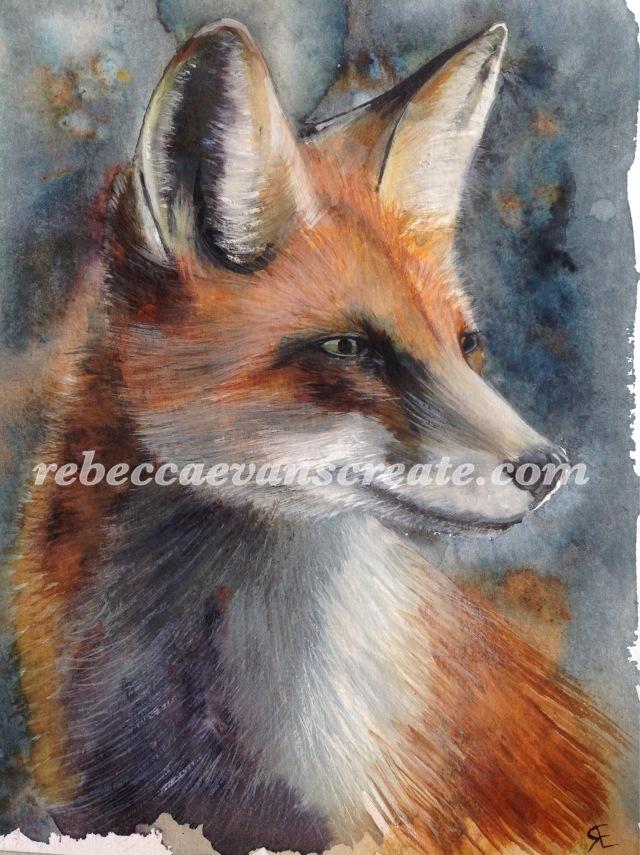 Brusho and watercolour fox