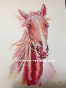 'Lottie' two year old warmblood, A4 cold press 140lb painted with dylon fabric dye and watercolour