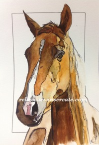 "10x7"" hotpress 140lb abstract horse 'lottie'"