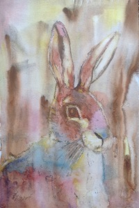 Rivulet technique  Watercolour hare