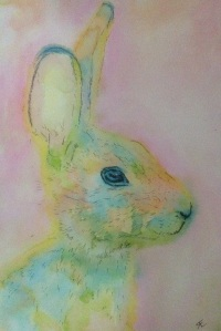 Watercolour hare using kuretake dual tip pens rather than traditional watercolour, scribble ink onto a shiny tile and lift traditional way with brush to paint- nice vibrant pastels. Black permanent ink outliner