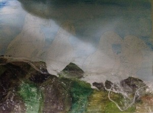 Puffin parade watercolour, using cling film for texture effects on the rocks