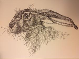 Scribble art hare black pen permanent 0.2