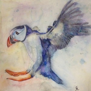 Watercolour puffin for my mum, using a free approach to watercolour painting