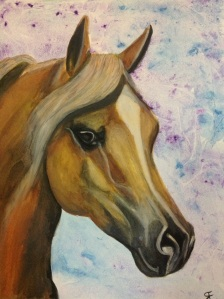 Watercolour, of Arab chestnut mare