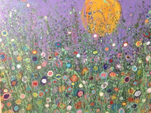 'le fleurs bourn' Painting with patients, art work created at oakhaven hospice, to be displayed in the lounge area. Every patient that wished to help was able to create the flowers in an assortment of colours large canvas 100x150