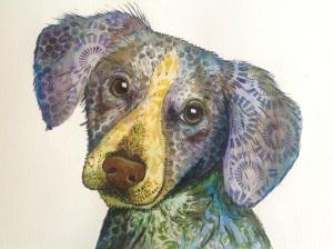 Abstract dog watercolour/ mixed media