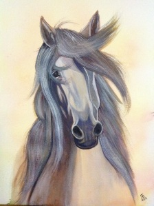 American Saddlebred golden dun, watercolour