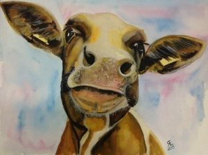 'No name brown cow'  Watercolour