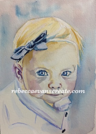 "7x10"" watercolour 140 lb ' blue eyes' photo reference from Sktchy app"