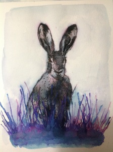 'Wishful Wait 'watercolour and elegant writer of sitting hare in grass