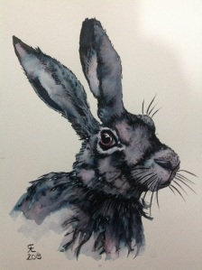 Cutsie Hare watercolour and elegant writer