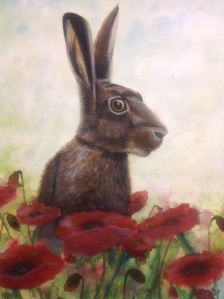 Watercolour/neocolor hare in poppies. Decided I did not like the hare reference, the nose is too square,