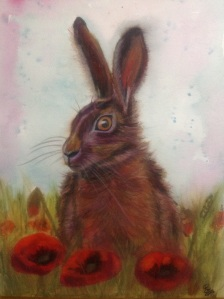 Caran dache Neocolor 2 hare with poppies