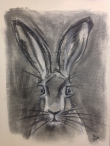 Charcoal sticks and white chalk hare