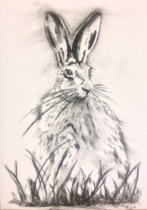 Charcoal sitting hare, large