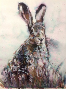 Blue timidus watercolour hare, using elegant writer, watercolours, mica spray, gold paint