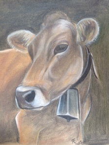 Charcoal and derwent tinted charcoal cow with bell