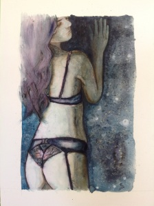 'Moment to imagine' Watercolour and elegant writer figure painting